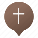 church, cross, faith, markers, pin, religion, wsd icon
