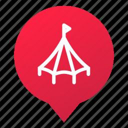 big top, circus, fun, markers, pin, tent, wsd icon