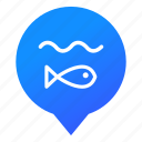 fish, lake, markers, pond, sea, water, wsd icon