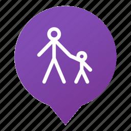 children, markers, pedestrian zone, pedestrians, walking, wsd icon