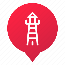 coast, harbor, lighthouse, markers, navigation, pin, wsd icon