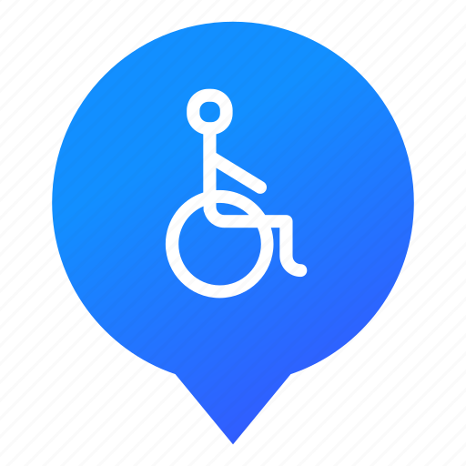 disabled, disabled person, invalid, markers, pin, wheelchair, wsd icon