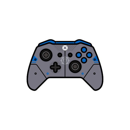 blue, controller, gamer, gear, xbox one icon