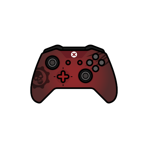 controller, gamer, gear, red, xbox one icon
