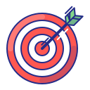 aim, arrow, bullseye, purpose, strategy, target icon