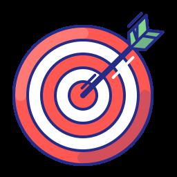 aim, arrow, bullseye, purpose, strategy, target icon