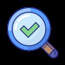 checkmark, done, explore, find, magnifier, search, success