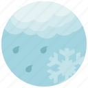 cloud, forecast, light, rain, snowflake, weather icon