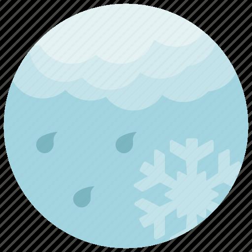 cloud, forecast, light, rain, snowflake, weather icon