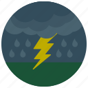 forecast, lightening, rain, storm, weather icon
