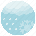 cloud, cold, forecast, rain, snowflake, weather icon