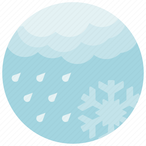 cloud, cold, forecast, rain, snowflake, weather icon