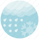 forecast, rain, snow, snowflake, weather icon