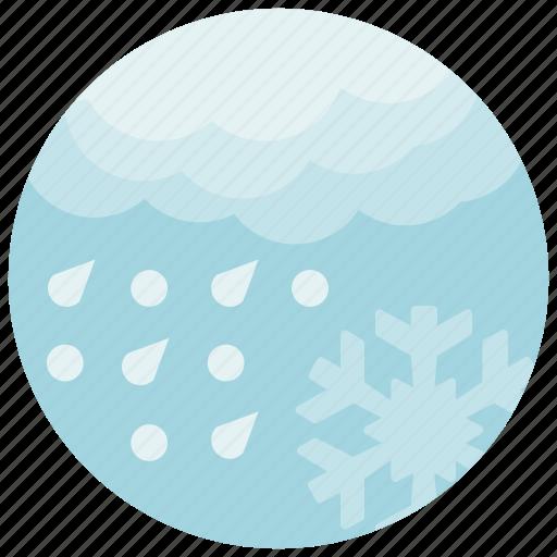 forecast, rain, snow, snowflake, weather icon