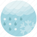 cloud, forecast, rain, snow, snowflake, weather icon
