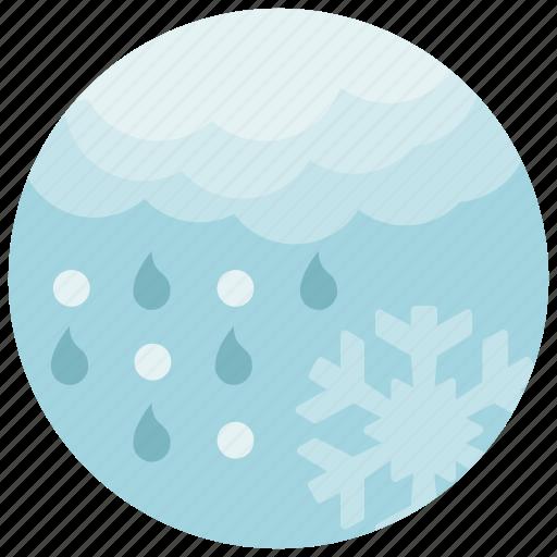 cloud, forecast, rain, snow, snowflake, weather icon