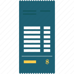 bill, commerce, finance, invoice, payment, receipt, ticket icon