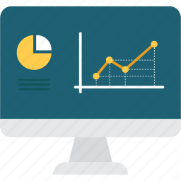analytics, business, graphic, laptop, monitor, seo, stats icon