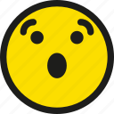 cartoon, emoji, emoticon, emotion, smile, smiley, surprised icon