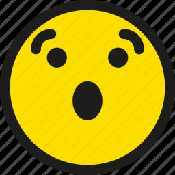 cartoon, emoji, emoticon, emotion, smile, smiley, surprised icon