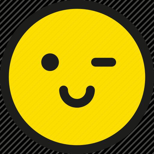 blink, cartoon, emoji, emoticon, happy, smile, wink icon