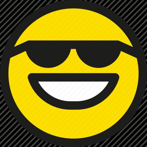 cool, emoji, emoticon, face, happy, smile, smiley icon