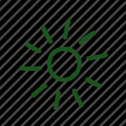 doodle, hand drawn, shine, sun, sunshine icon