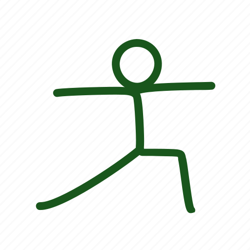 Asana Drawing Hand Drawn Pose Warrior Yoga Icon