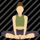 angle, bound, exercise, pose, yoga icon