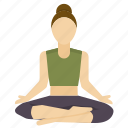 exercise, half, lotus, meditation, pose, yoga icon