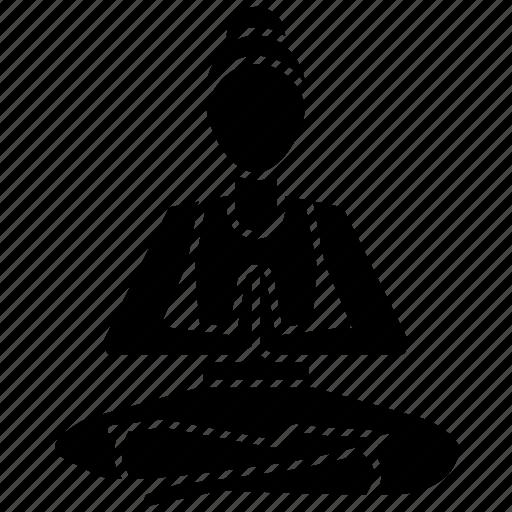 meditation, pose, salutation, salute, seal, yoga icon