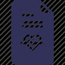 documents, file, health, heart, medic, report, yumminky icon