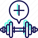 add, dumbbell, fitness, gym, muscle, weight, yumminky icon