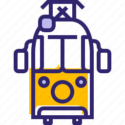 hipster, traffic, tram, tramway, traveling, vehicle, yumminky icon