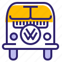 car, hipster, t1 bus, traveling, vehicle, volkswagen, yumminky icon