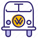 bus, car, hipster, traveling, vehicle, volkswagen, yumminky icon