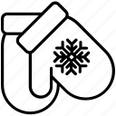 christmas, clothes, cold, gloves, snowflake, winter, yummy icon
