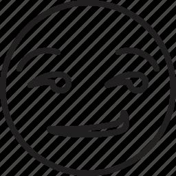 emoticon, face, smiley, smirking icon