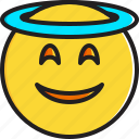 emoticon, face, halo, smiley, smiling icon