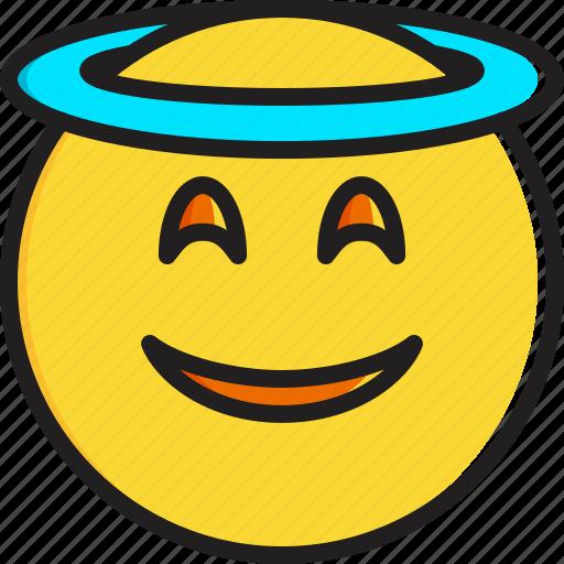 emoticon, face, halo, smiley, smiling icon