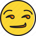 emoticon, face, smiley, smirking icon