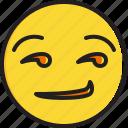 emoticon, face, smiley, smirking