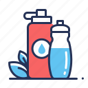bottles, eco, reusable, water icon