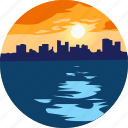city, landscape, nature, ocean, parks, scenery, sunset icon