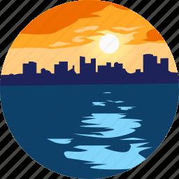 city, landscape, nature, ocean, parks, scenery, sunset icon