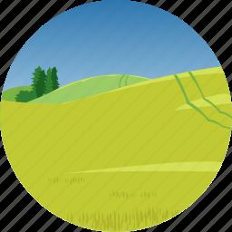 farm, hills, landscape, nature, parks, scenery icon