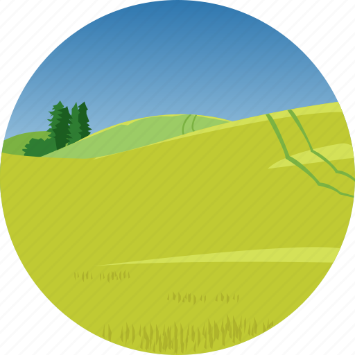 farm, hills, landscape, nature, parks, scenery icon