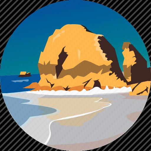 coast, landscape, nature, ocean, parks, rocks, scenery icon