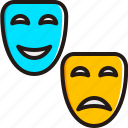emoji, emoticon, face, happy, mask, sad, smiley icon