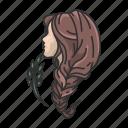 constellation, hair, horoscope, lady, virgin maiden, virgo, zodiac icon